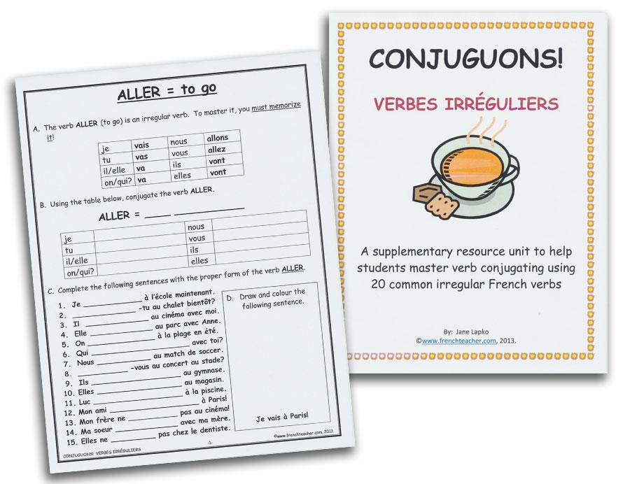 Conjuguons! Verbes Irréguliers Activity Packet
