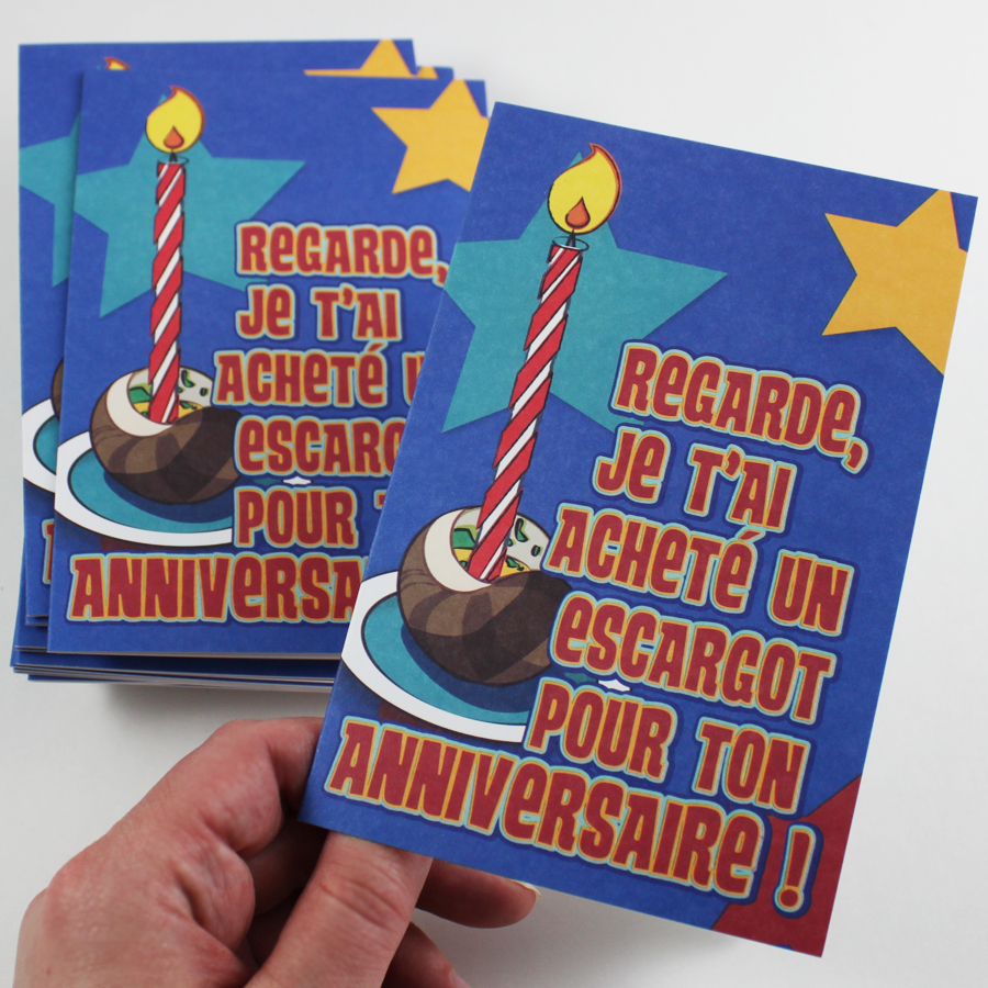 Birthday Escargot French Cards