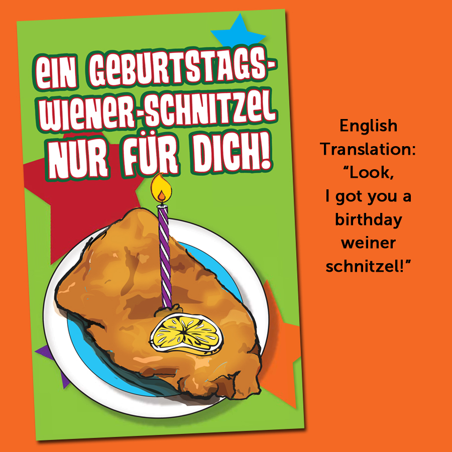 Birthday Schnitzel German Cards