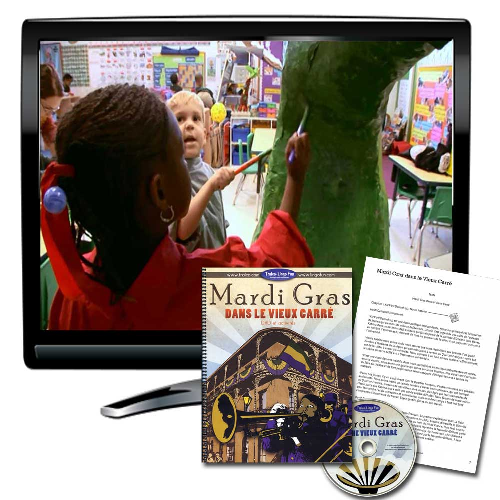 Mardi Gras Dans Le Vieux Carré French DVD and Activity Book Available in French or English
