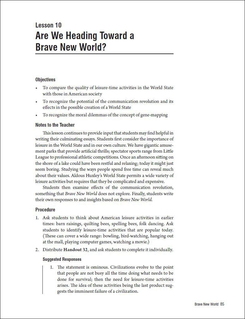 brave new world eugenics essay Free essays & term papers - eugenics and a brave new world, supernatural.