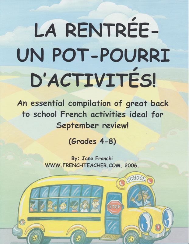 Back to School French Activity Packet