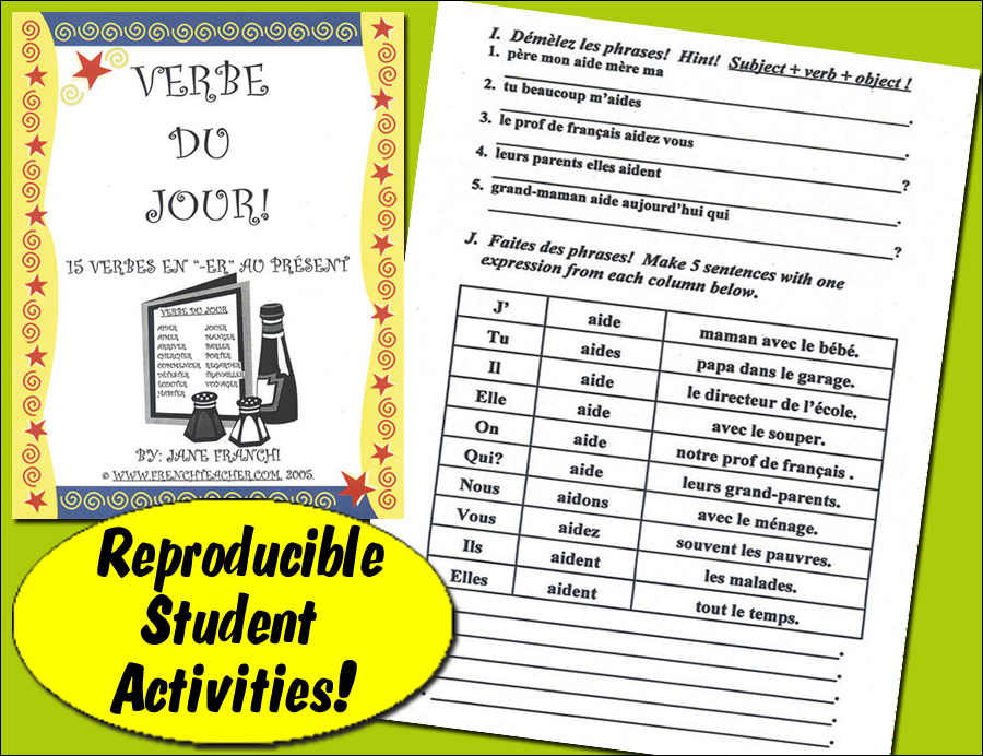 Verbe du jour ! -ER Verbs French Activity Packet