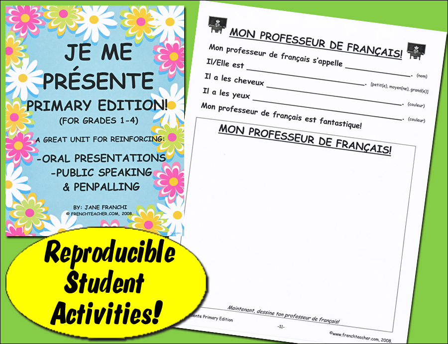 Je me presente Primary Edition French Activity Packet