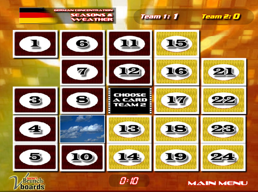 German Concentration Game Seasons & Weather