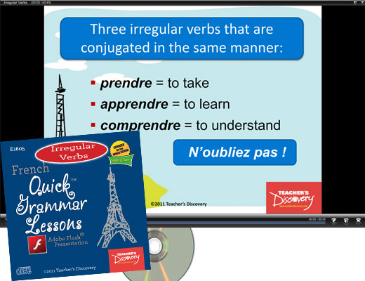 Irregular Verbs French Adobe Flash Presentation on CD