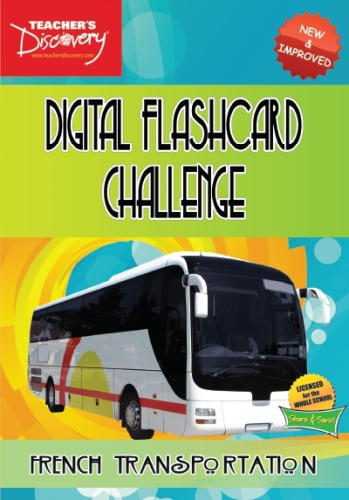 Digital Flashcard Challenge Game French Transportation CD-ROM