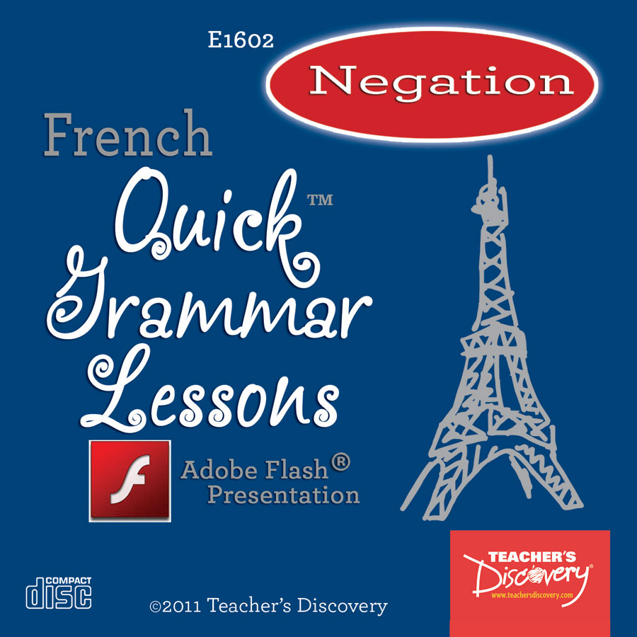 Negation Using Ne and Pas French Adobe Flash Presentation on CD
