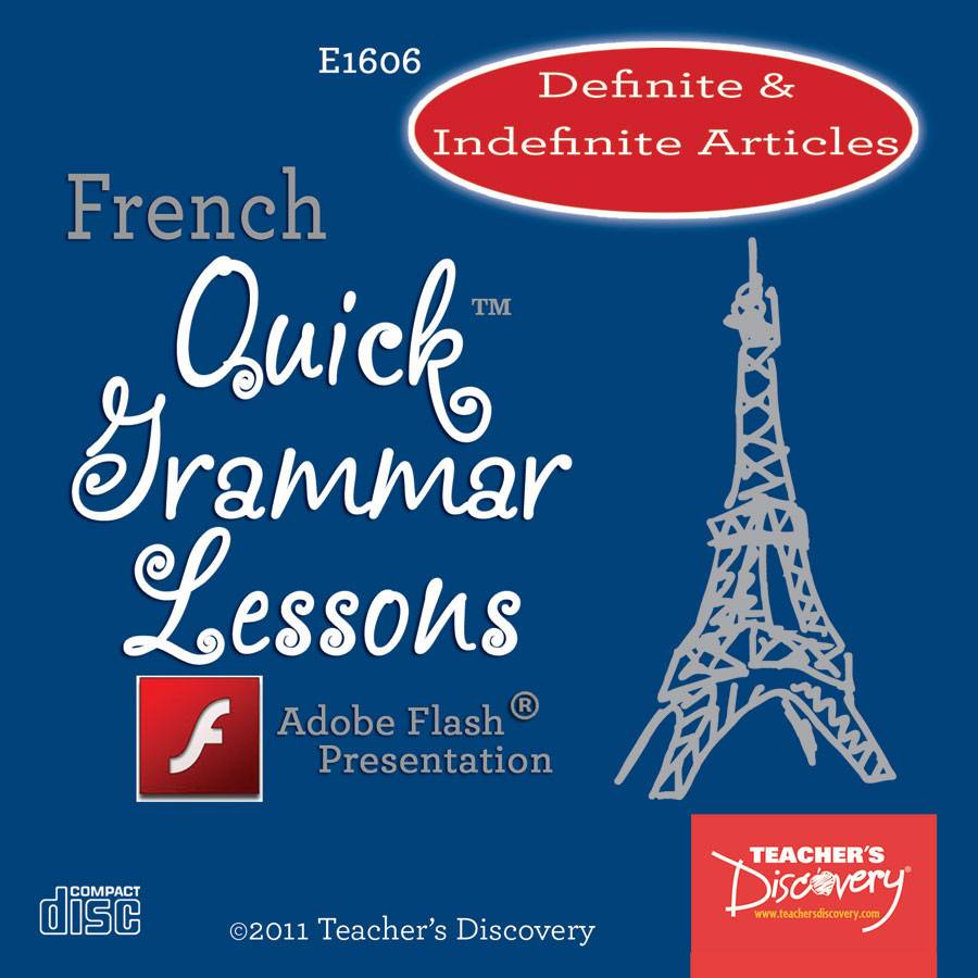 Definite and Indefinite Articles French Adobe Flash Presentation on CD