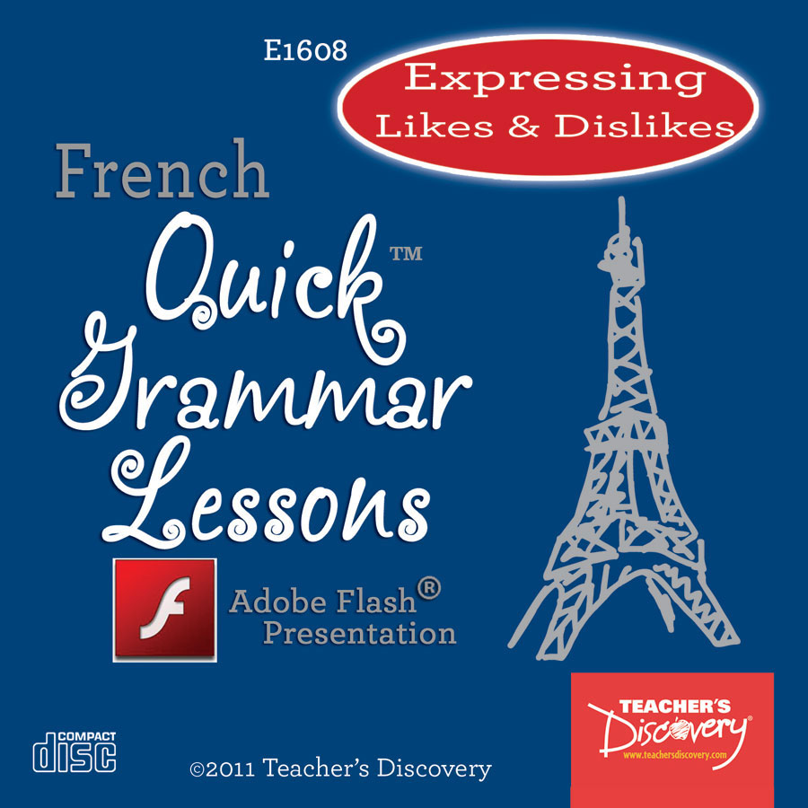Expressing Likes and Dislikes French Adobe Flash Presentation on CD
