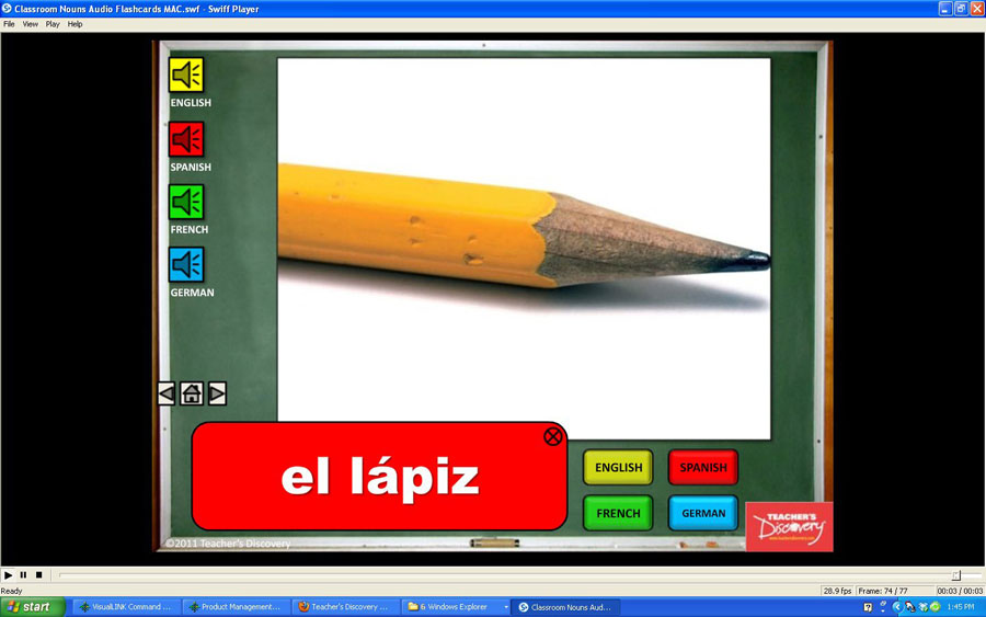 Audio Flash Cards Spanish/French/German/English Classroom Nouns