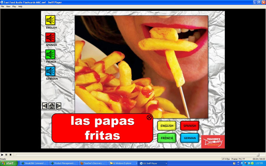 Audio Flash Card Spanish/French/German/English Fast Food (2010)