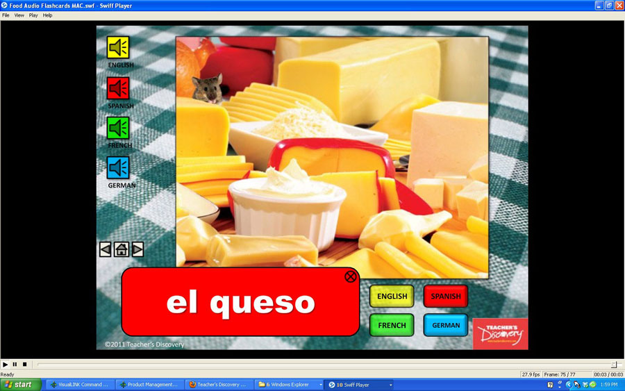 Audio Flash Cards Spanish/French/German/English Food (2010)