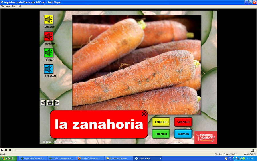 Audio Flash Cards Spanish/French/German/English Vegetables (2010)