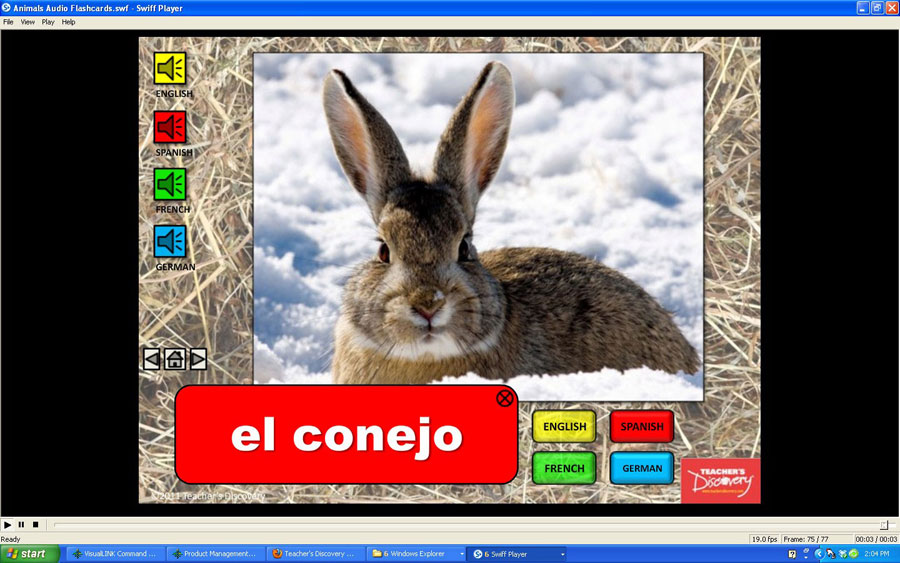 Audio Flash Cards Spanish/French/German/English Animals (2010)
