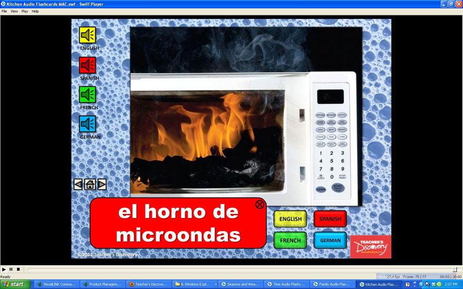 Audio Flash Cards Spanish/French/German/English Kitchen Nouns