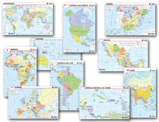 Spanish World Maps Bulletin Board Set