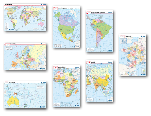 French World Maps Bulletin Board Set