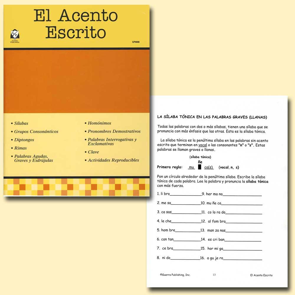 El Acento Escrito Spanish Activity Book