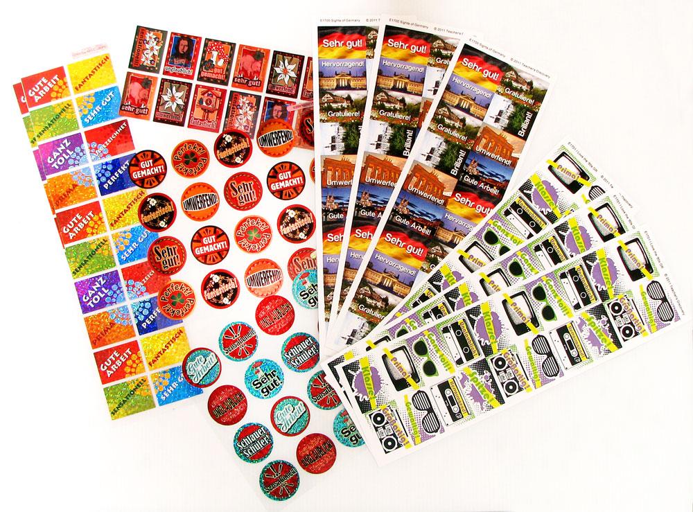 German Praise Words Sticker Pack