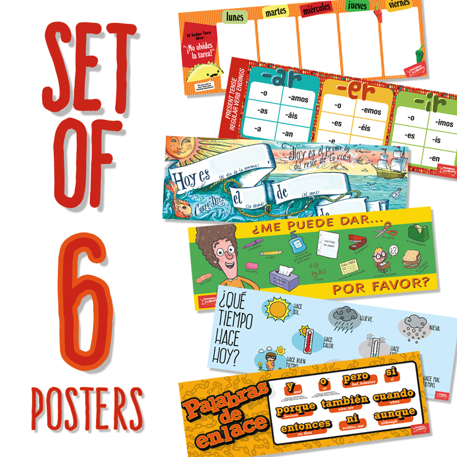 Spanish Whiteboard Toppers Set of 6