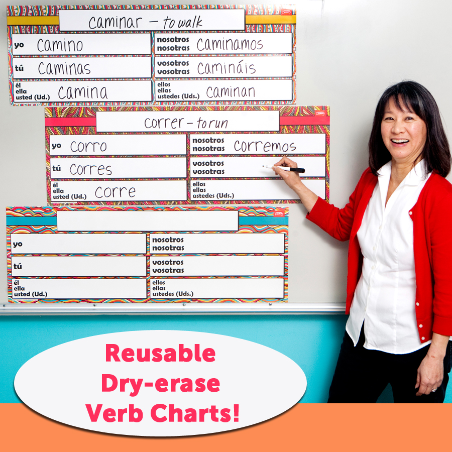 Dry-Erase Spanish Verb Charts Set of 3