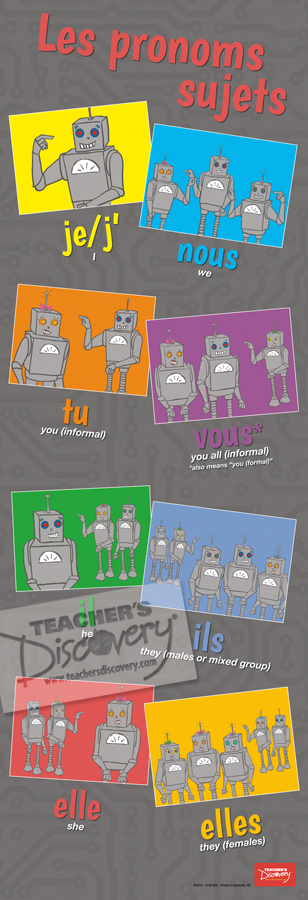 Robot Pronouns Skinny Poster French