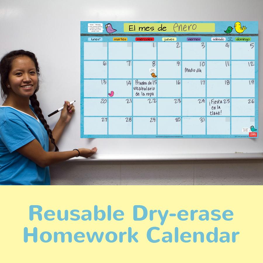 Month Spanish Homework Chart
