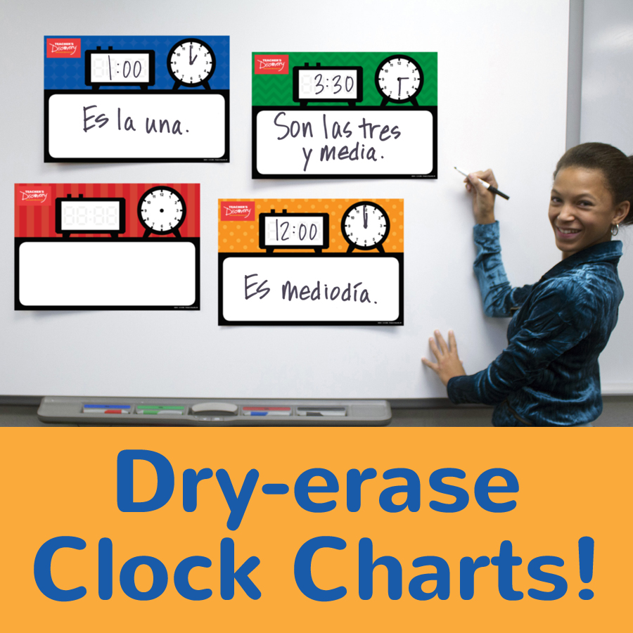 Dry-erase Clock Charts Set of 4