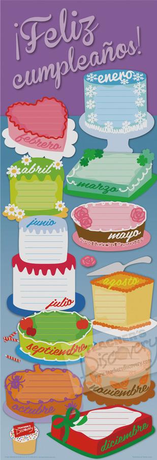 Birthday Cakes Skinny Poster Spanish