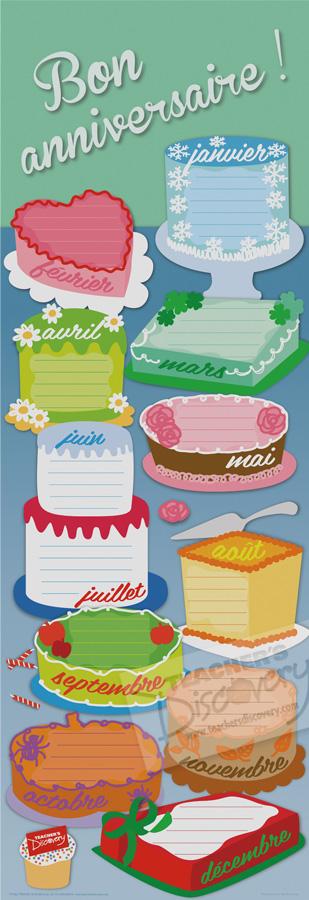 Birthday Cakes Skinny Poster French