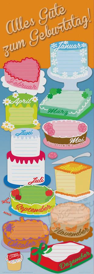 Birthday Cakes Skinny Poster German (Dry-Erase)