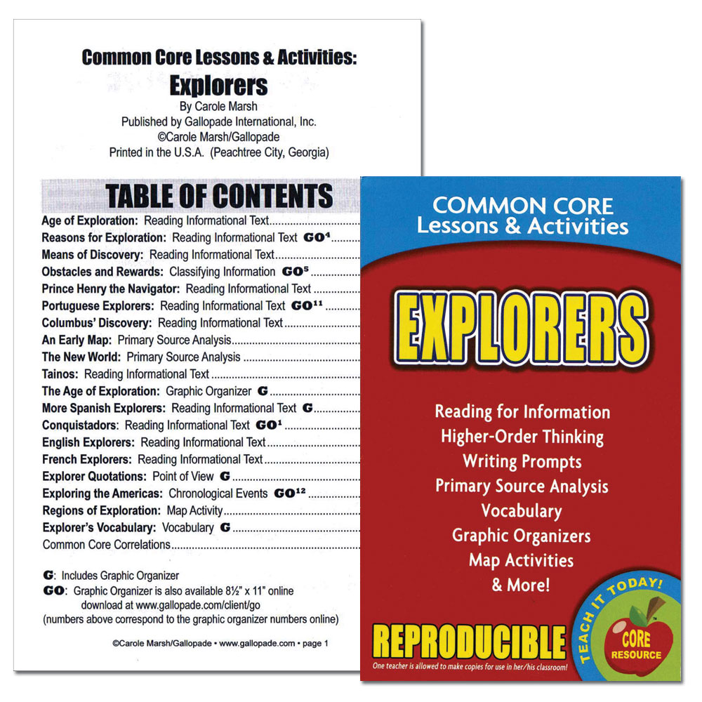 Explorers Common Core Lessons and Activities Book
