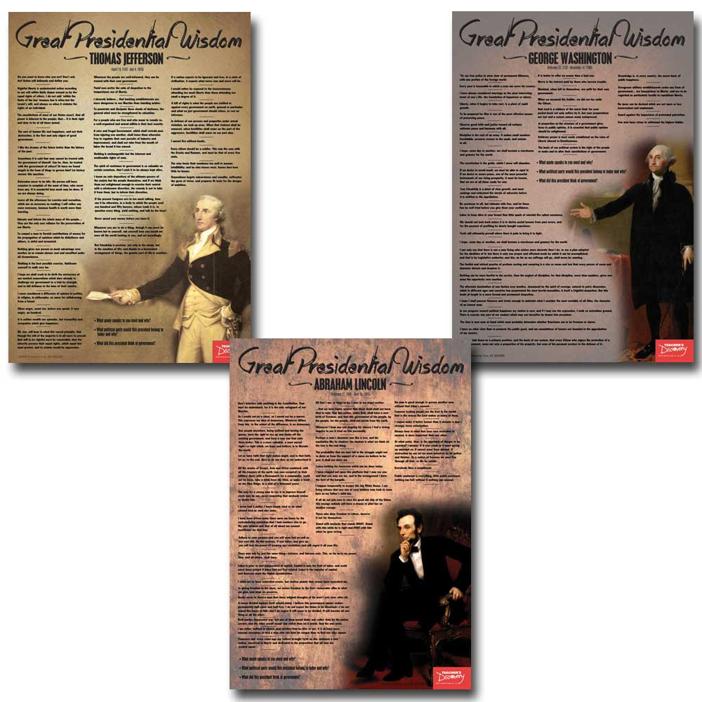 Great Presidential Wisdom Posters Set of 3