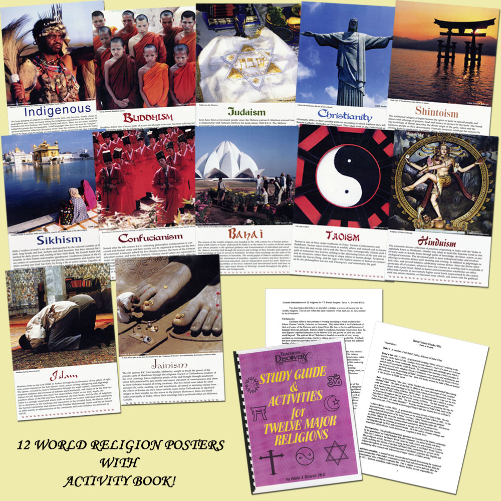 World Religions Poster Set with Activity Book