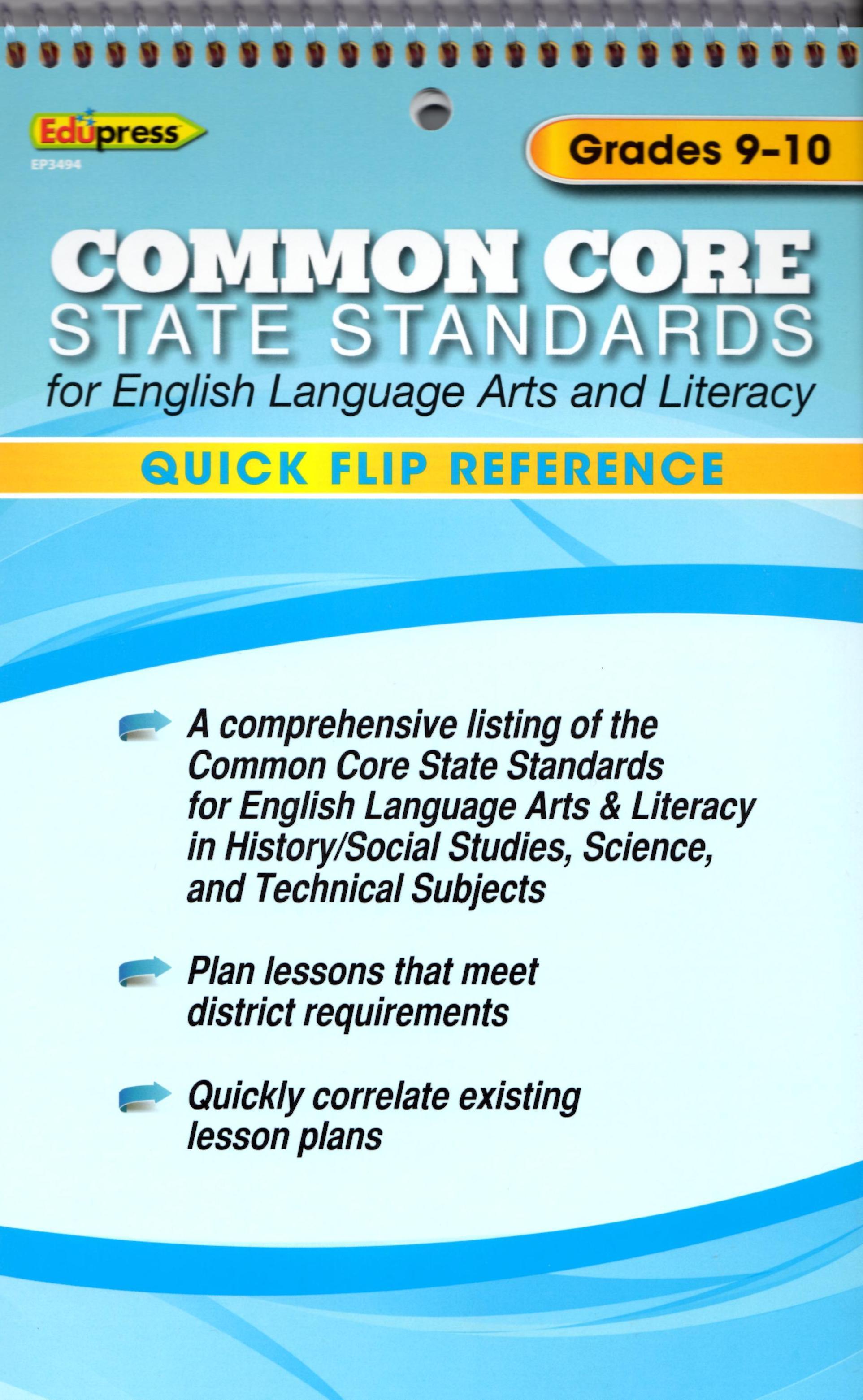 Quick Flip Common Core Reference Tool  ~ Grade 9-10