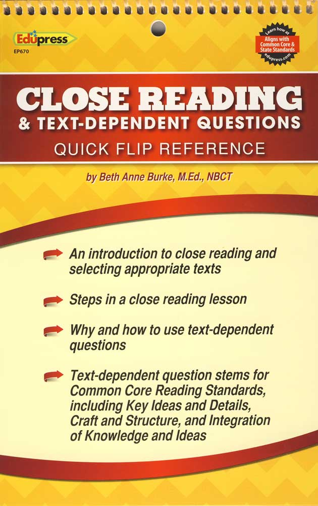Close Reading Text-Dependent Questions Quick Flip Reference