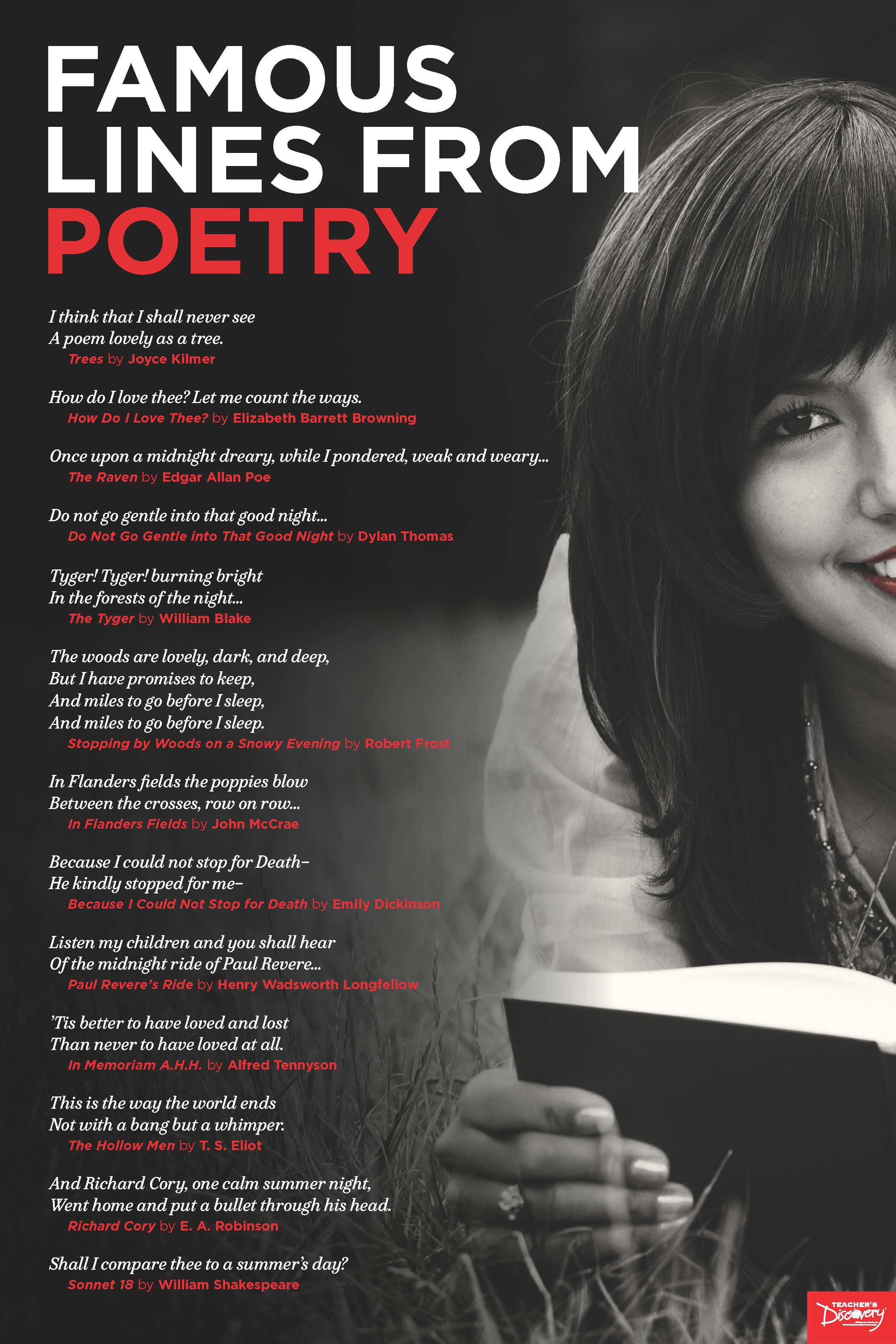 Famous Lines from Poetry Poster