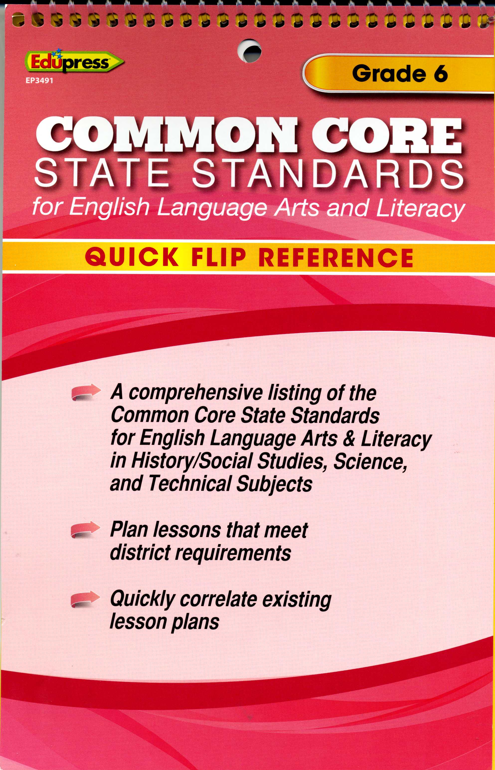 Common Core State Standards - Grade 6 Quick Flip Reference