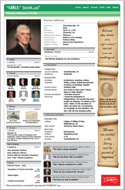 Thomas jefferson farce book poster social studies for Farce in english