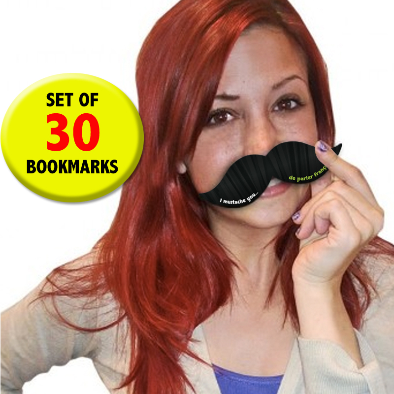 Mustache Bookmarks French Incentives Set of 30