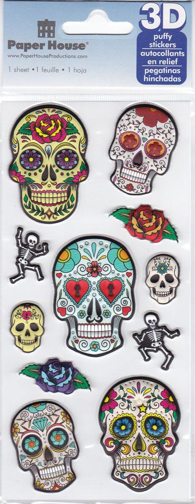 Sugar Skulls Puffy Stickers