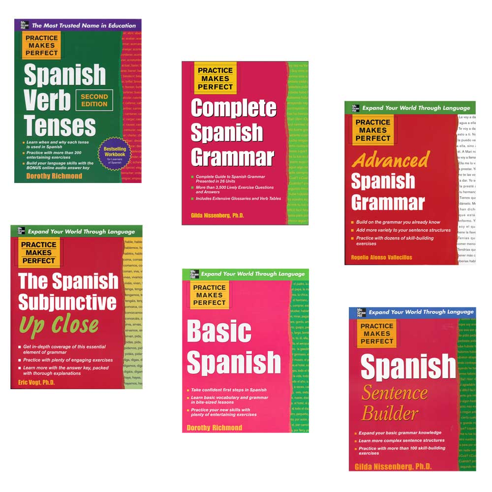 Practice Makes Perfect: Set of 6 Spanish Exercise Books