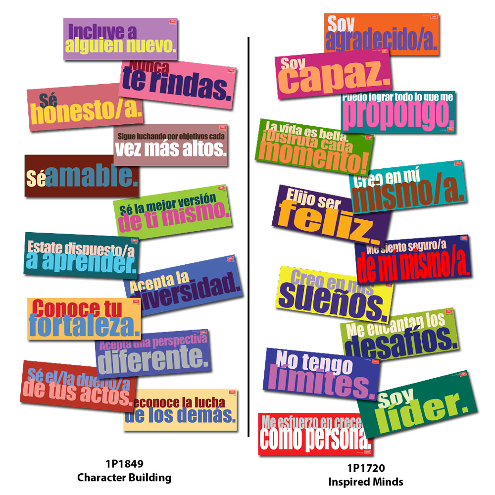 Spanish Character Building and Affirmations Signs Sets