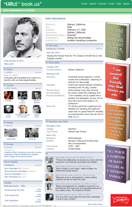 "John Steinbeck ""Farce"" book Poster"