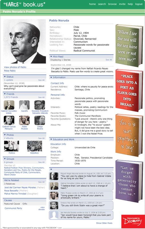 """Pablo Neruda """"Farce"""" book Poster"""