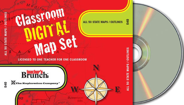 All 50 State Maps Outlines ~ CD-ROM