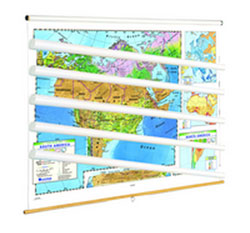 Land Cover Continent Physical Map Set of 6 on Multi-Roller