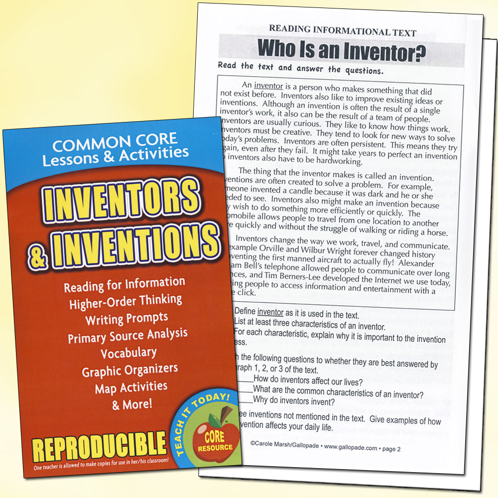 Inventors and Inventions Book Common Core Activity Book