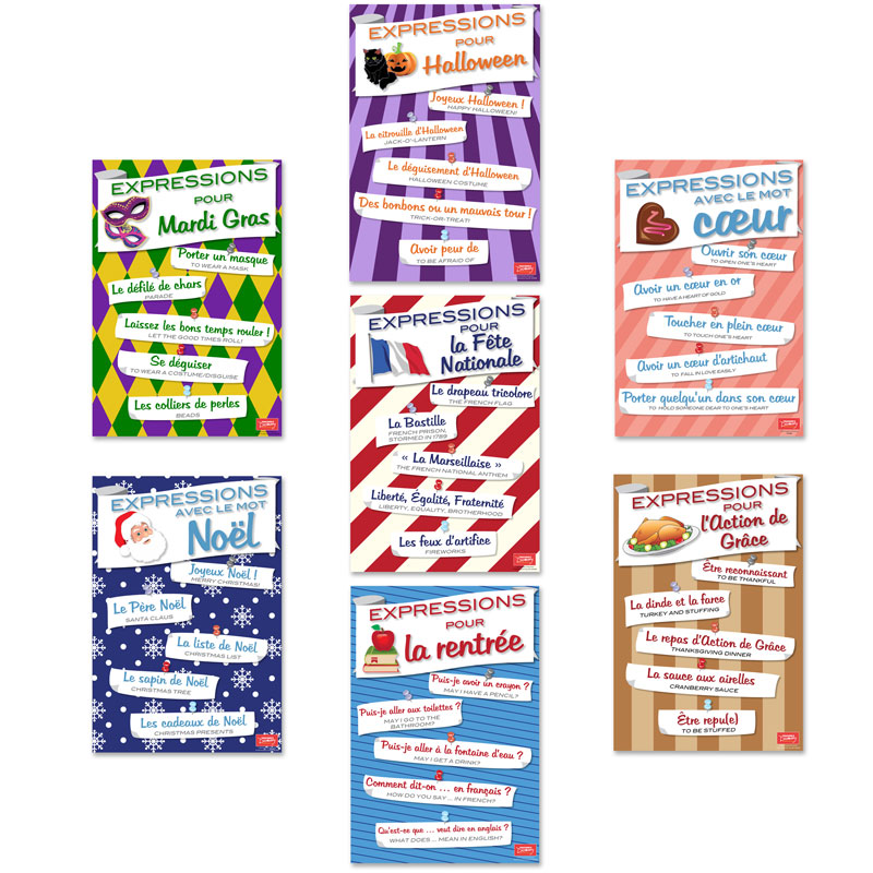 French Holiday Expressions Mini-Poster Set